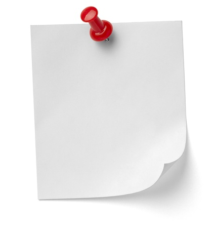 metal post: close up of a note paper with push pin