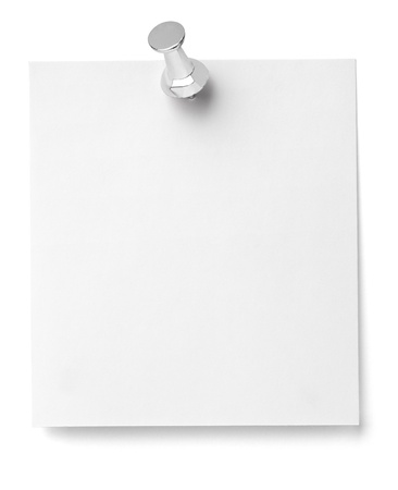 bulletin board: close up of a note paper with push pin