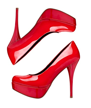 close up of  a red high heels  photo