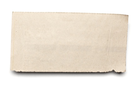 tear: close up of  a white ripped piece of news paper on on white background