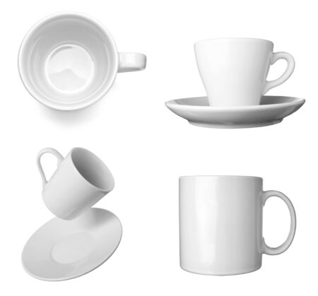 collection of various white coffee cups on white background  each one is shot separately photo
