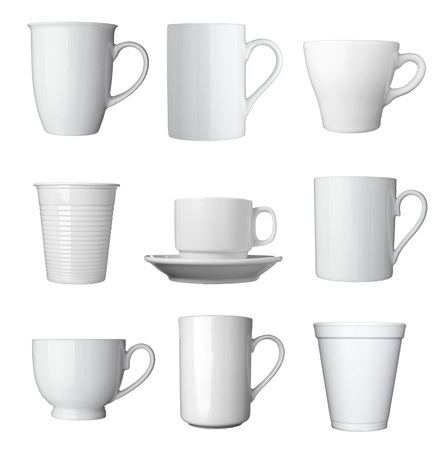 disposable: collection of various white coffee cups on white background  each one is shot separately