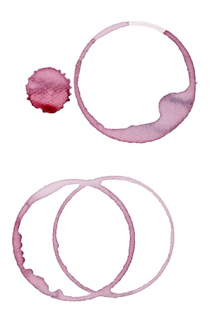 close up of  a wine stain on  white background  photo