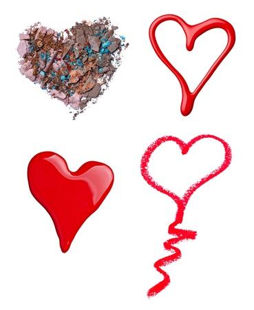 faire l amour: collection de divers accessoires de maquillage sur fond blanc chacun est abattu séparément