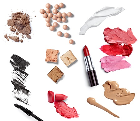 cosmetics collection: collection of  various make up accessories on white background  each one is shot separately