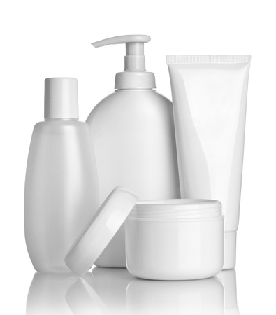 bath cream: close up of  beauty hygiene container on white background