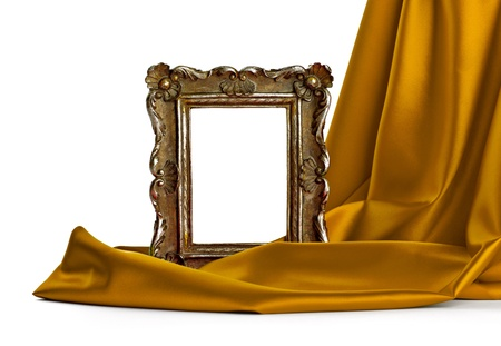 close up of  a wooden frame coverd with silk on white background  photo