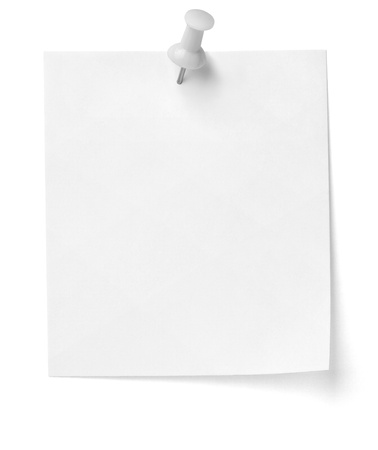 paperclip: close up of a note paper with push pin on white background