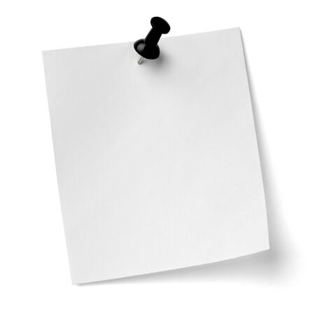 close up of a note paper with push pin on white background  photo