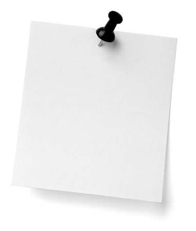 pin board: close up of a note paper with push pin on white background