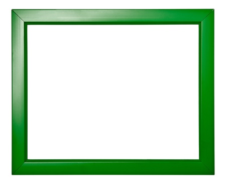 green frame: wooden frame for painting or picture on white background