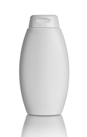 shampoo bottle: close up of  beauty hygiene container on white background