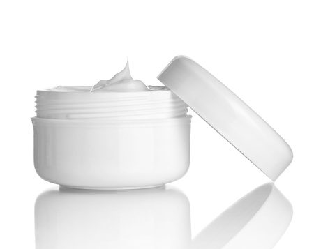 beauty care: close up of  beauty cream container on white background
