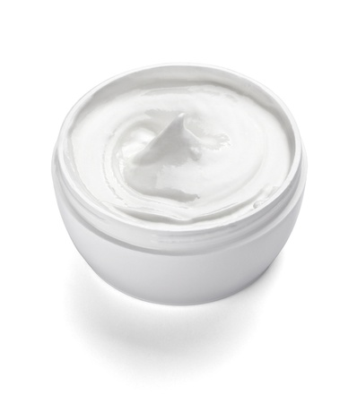 cosmetic cream: close up of  beauty cream container on white background