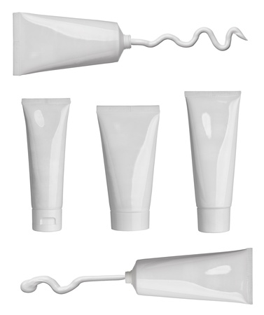 collection of various beauty cream strokes and tubes on white background. each one is shot separately photo
