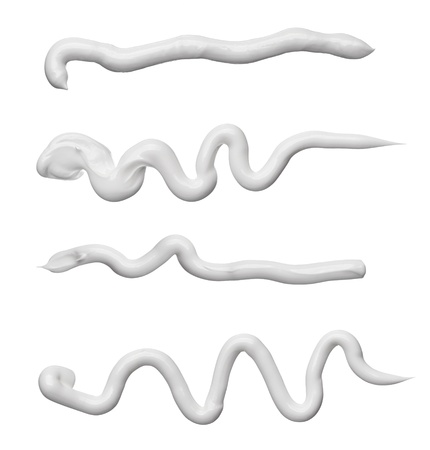squeeze: collection of various beauty cream strokes on white background. each one is shot separately Stock Photo