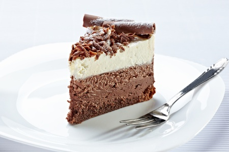 cream pie: close up of a chocolate cream cake on white plate