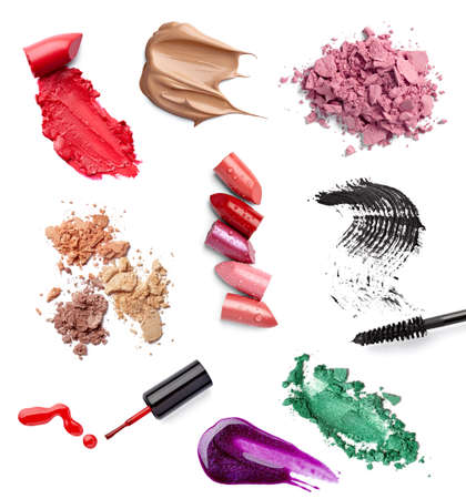 collection of  various make up accessories on white background. each one is shot separately photo