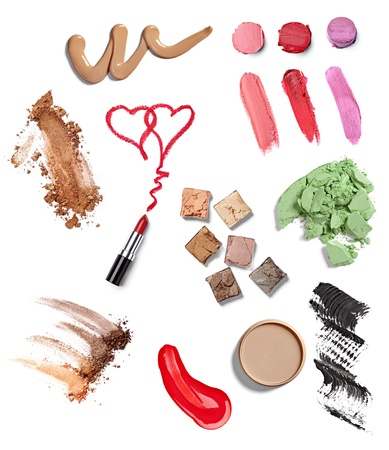 cosmetics collection: collection of  various make up accessories on white background. each one is shot separately Stock Photo