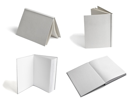 open spaces: collection of various  blank white paper on white background. each one is shot separately Stock Photo