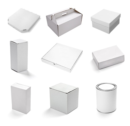 send parcel: collection of  various white boxes on white background. each one is shot separately