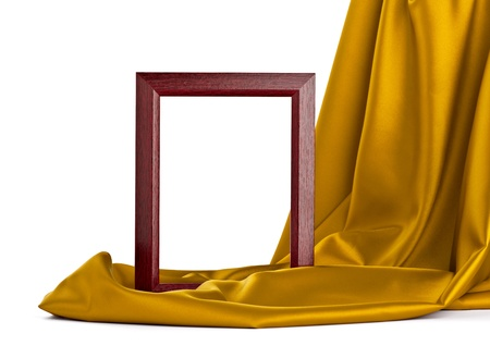 close up of  a wooden frame covered with silk on white background  photo