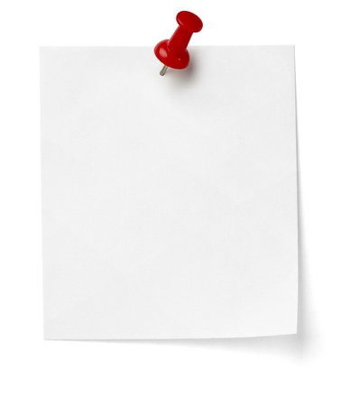 close up of a note paper with push pin on white background
