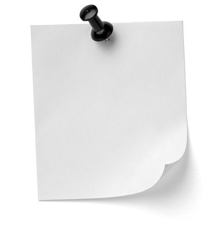 drawing pins: close up of a note paper with push pin on white background
