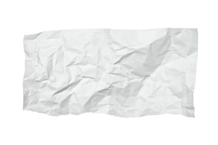 wrinkled paper: close up of  a crumpled piece of paper on white background Stock Photo