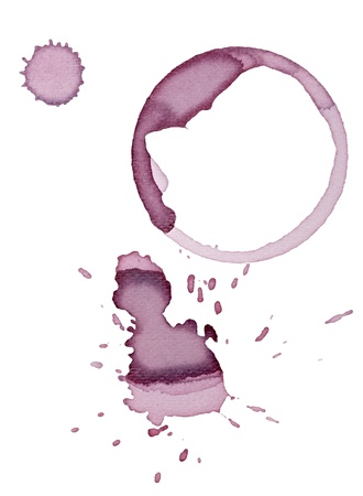 red wine stain: close up of  a wine stain on  white background  Stock Photo