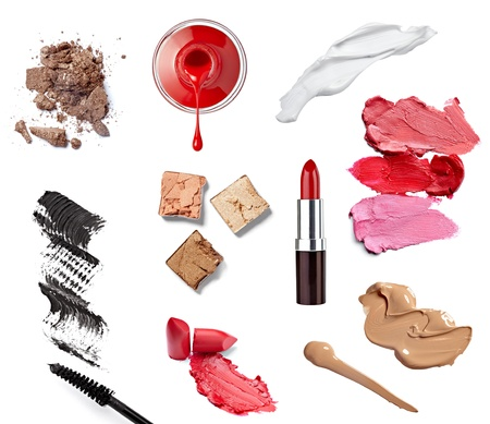 eyeshadows: collection of  various make up accessories on white background  each one is shot separately