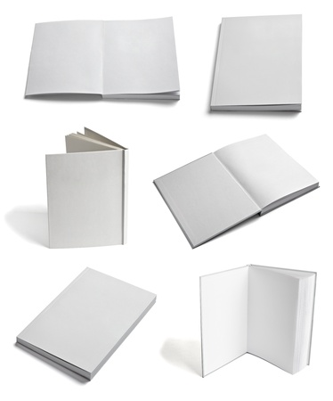 blank book cover: collection of various  blank white paper on white background  each one is shot separately Stock Photo