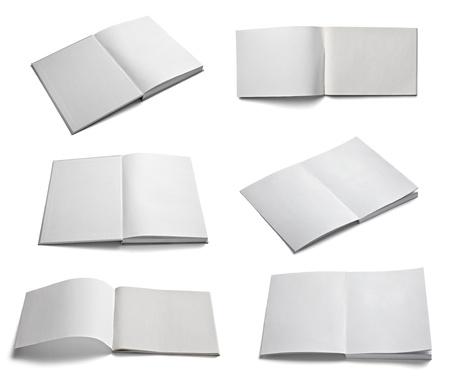 portadas de libros: colecci�n de varios de papel en blanco sobre un fondo blanco cada uno de ellos recibe un disparo por separado