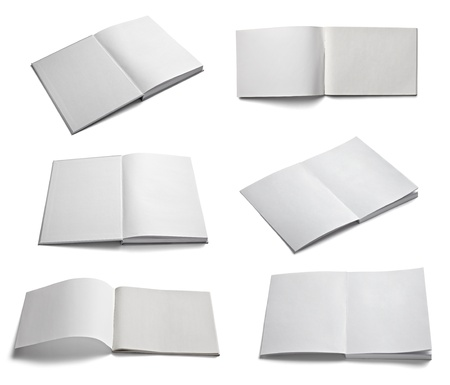 blank book: collection of various  blank white paper on white background  each one is shot separately Stock Photo