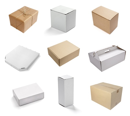 collection of  various white boxes on white background  each one is shot separately photo