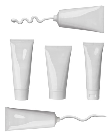 collection of various beauty cream strokes and tubes on white background. each one is shot separately Stock Photo - 13976472