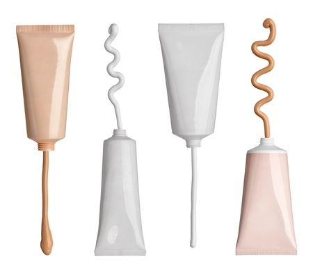 collection of various beauty cream and powder strokes and tubes on white background. each one is shot separately photo
