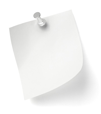 pinned: close up of a note paper with push pin on white background