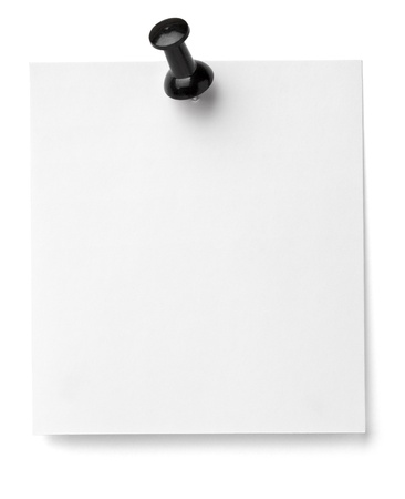 metal fastener: close up of a note paper with push pin on white background