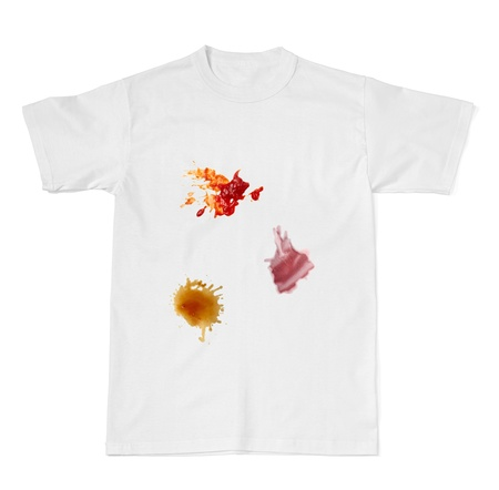 collection of various food stains from ketchup, coffee and wine on white t shirt photo