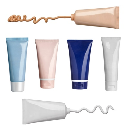 collection of various beauty cream and powder strokes and tubes on white background. each one is shot separately Stock Photo - 14047990