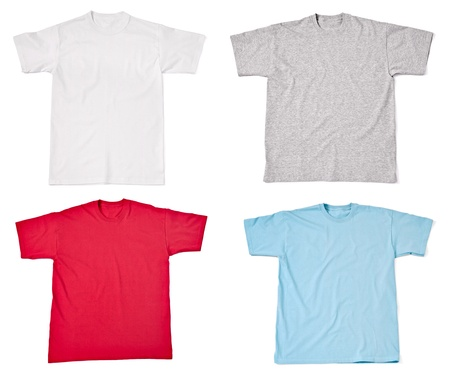 camisa: colecci�n de diversas camisetas sobre fondo blanco. cada uno de ellos recibe un disparo por separado Foto de archivo