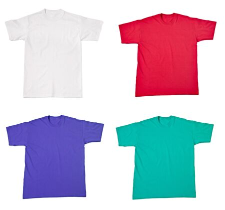 collection of  various t shirts on white background. each one is shot separately Stock Photo - 14048029