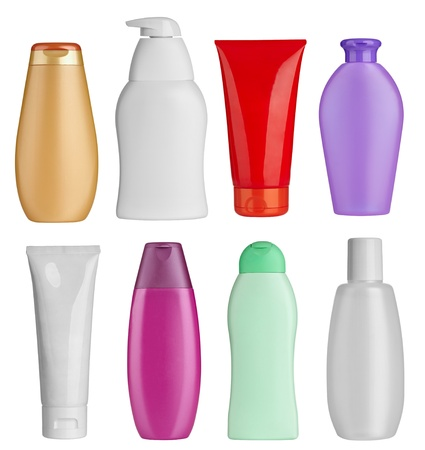 lotion: collection of  various beauty hygiene containers on white background. each one is shot separately
