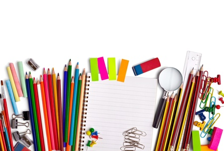close up of various school items Stock Photo