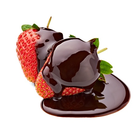 chocolate syrup: close up of  strawberry and chocolate syrup dessert on white background with clipping path Stock Photo