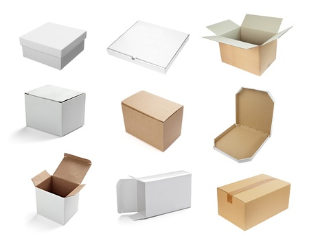 collection of  various white boxes on white background. each one is shot separately photo