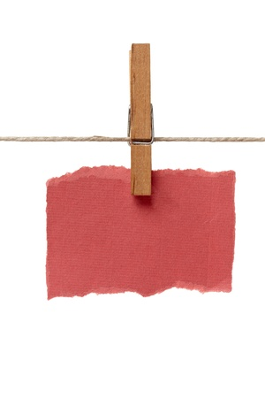 close up of  a note and a clothes peg on white background with clipping path Stock Photo - 14359015