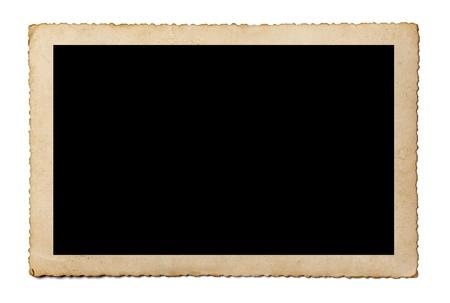 Nahaufnahme von einem alten Foto auf weißem Hintergrund mit Clipping-Pfad