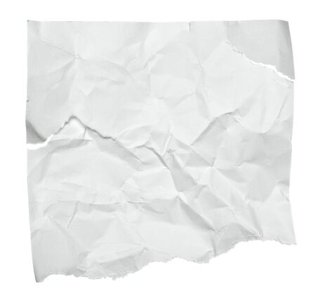 crumpled sheet: close up of  a crumpled piece of paper on white background Stock Photo